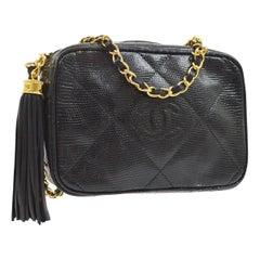 Chanel Vintage Black Lizard Exotic  Gold Evening Camera Shoulder Bag in Box