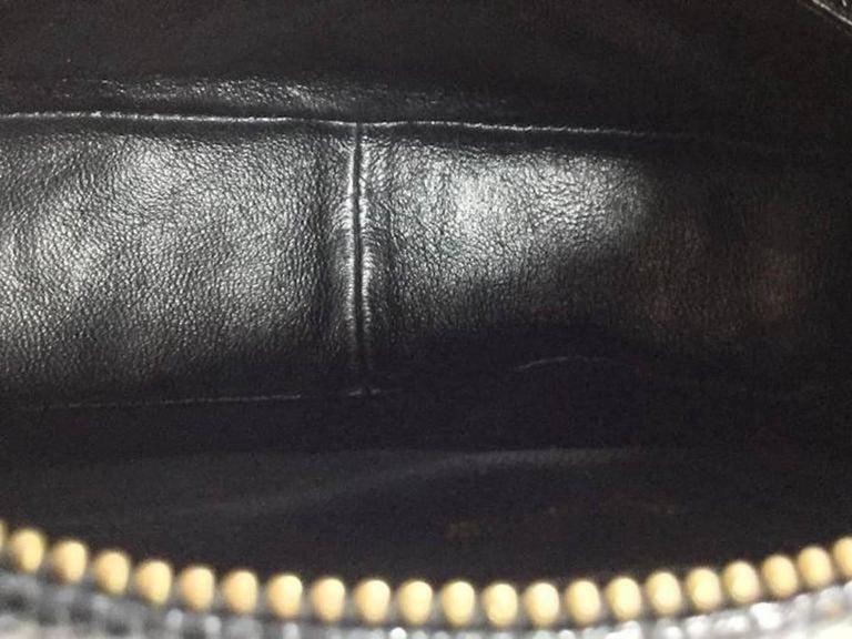 Chanel Vintage Black Lizard Exotic Leather Gold Evening Camera Shoulder Bag For Sale 1