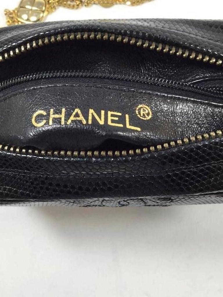 Chanel Vintage Black Lizard Exotic Leather Gold Evening Camera Shoulder Bag For Sale 2