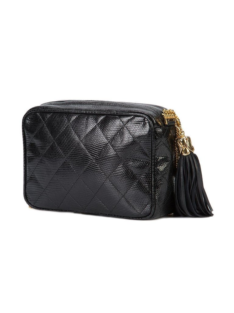 Women's Chanel Vintage Black Lizard Exotic Leather Gold Evening Camera Shoulder Bag For Sale
