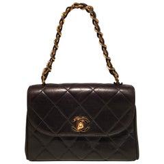 Chanel Vintage Black Mini Quilted Leather Classic Flap Handbag Baguette