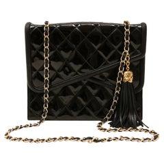 Chanel Vintage Black Patent Leather Double Flap Envelope Bag