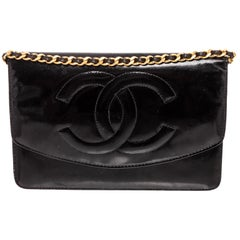 Chanel Vintage Black Patent Leather Timeless WOC Wallet On Chain Bag