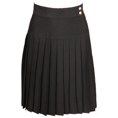 Chanel Vintage Black Pleated Skirt