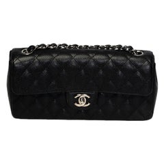 Chanel Vintage Black Quilted Caviar Leather East West Baguette Bag