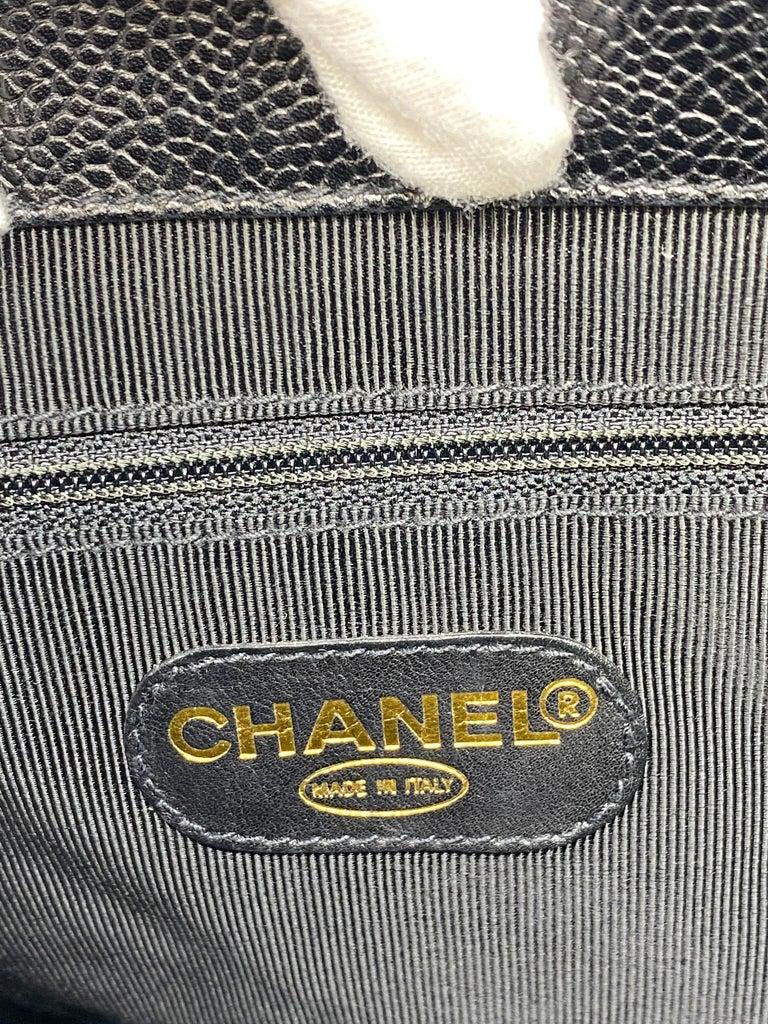 Chanel Vintage Black Quilted Caviar Leather Shoulder Bag with Gold Hardware For Sale 6