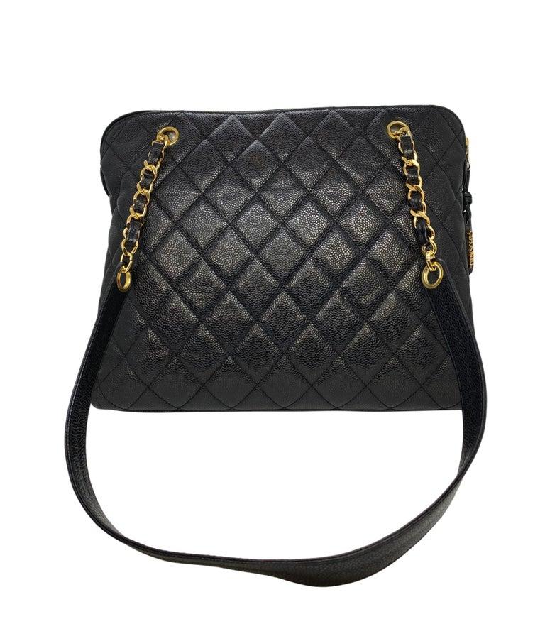 Chanel Vintage Black Quilted Caviar Leather Shoulder Bag with Gold Hardware For Sale 2