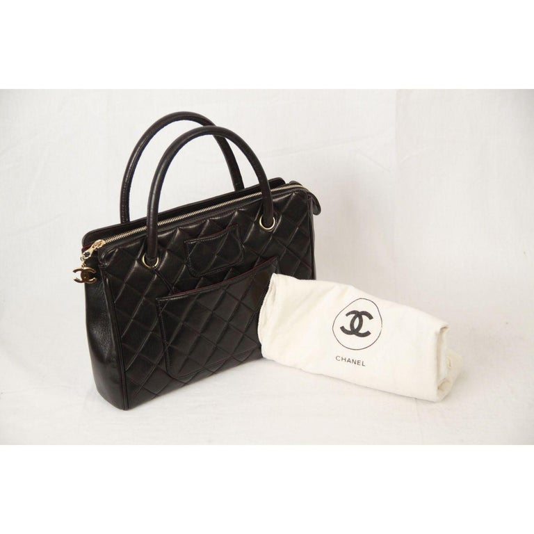 Chanel Vintage Black Quilted Handbag Satchel with Exterior Pockets 6