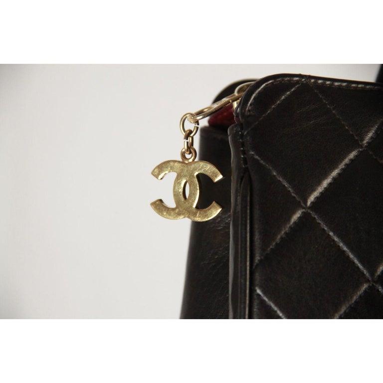 Chanel Vintage Black Quilted Handbag Satchel with Exterior Pockets 1