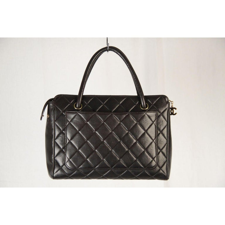 Chanel Vintage Black Quilted Handbag Satchel with Exterior Pockets 2
