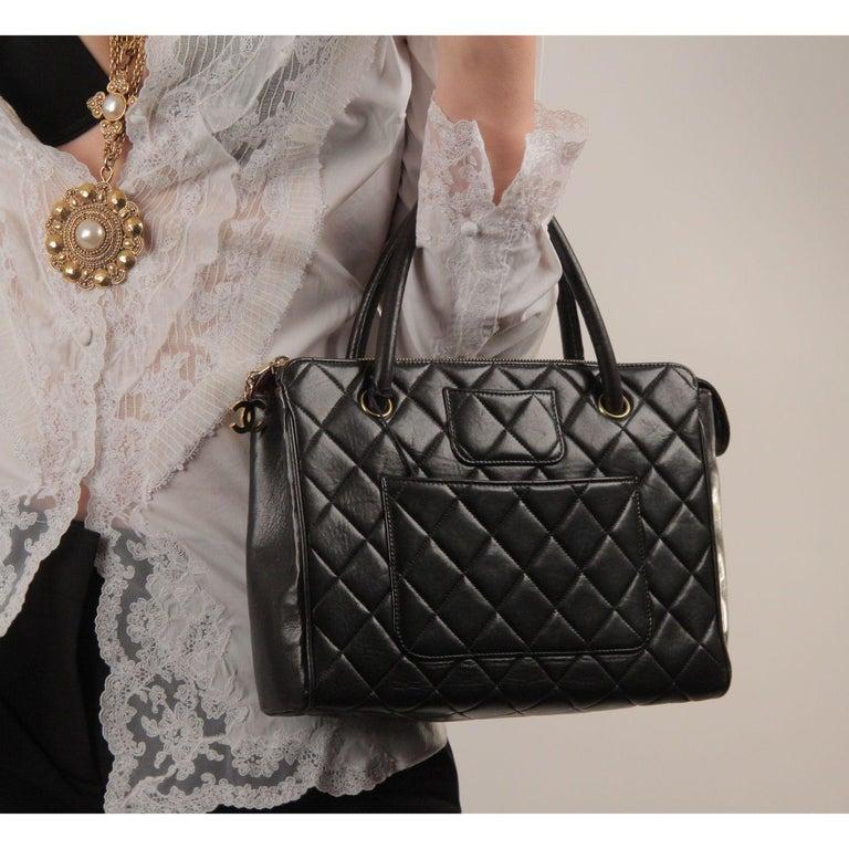 Chanel Vintage Black Quilted Handbag Satchel with Exterior Pockets 3
