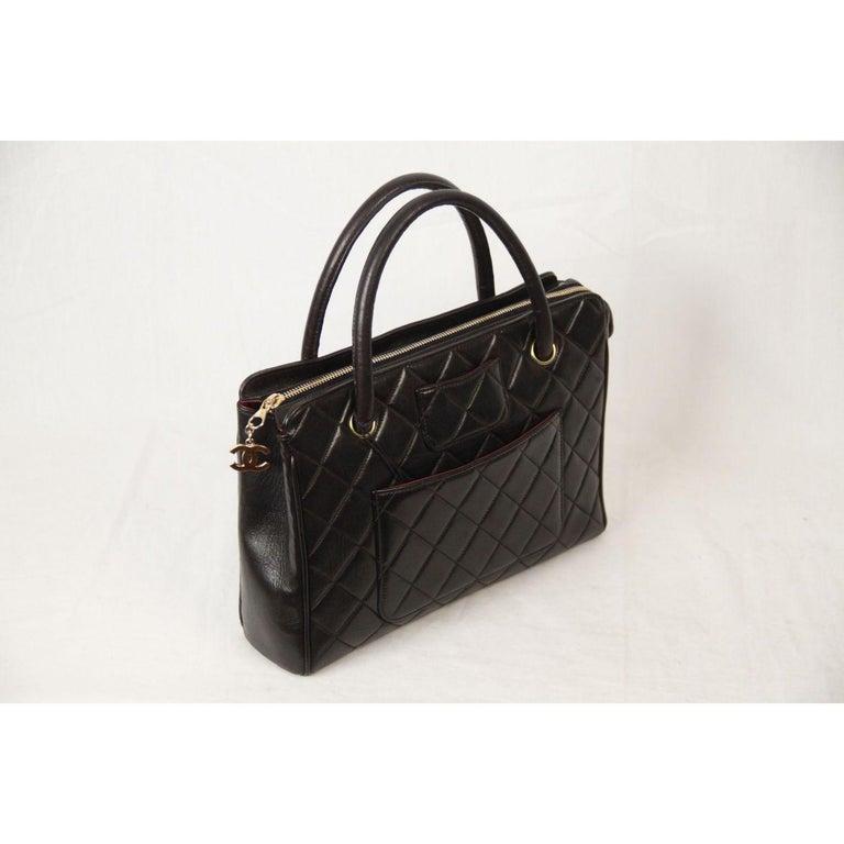 Chanel Vintage Black Quilted Handbag Satchel with Exterior Pockets 4