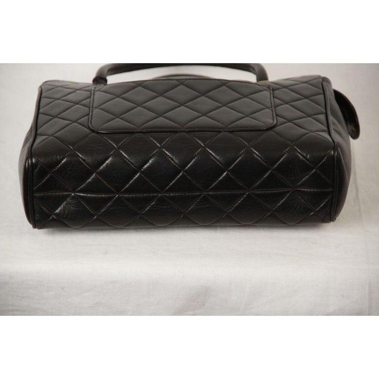 Chanel Vintage Black Quilted Handbag Satchel with Exterior Pockets 5