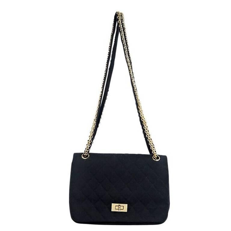 Chanel Vintage Black Quilted Jersey Flap Bag