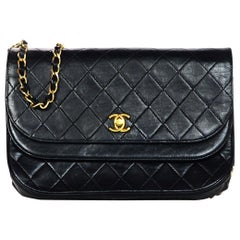 Chanel Vintage Black Quilted Lambskin Leather Flap Bag
