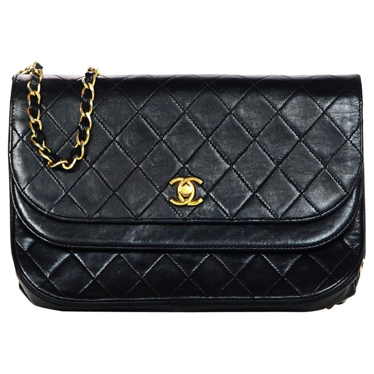 2d82ea5e9cacb5 Chanel Vintage Black Quilted Lambskin Leather Flap Bag For Sale at ...