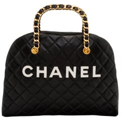 Chanel Vintage Black Quilted Lambskin Leather Medium Bowling Bag