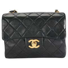 Chanel Vintage Black Quilted Lambskin Mini Square Classic Flap Bag