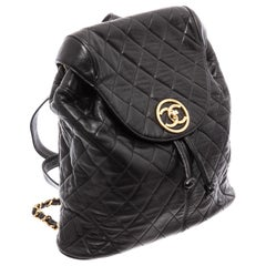 Chanel Vintage Black Quilted Leather Backpack