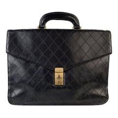 Chanel Vintage Black Quilted Leather Briefcase Work Bag Handbag