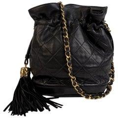 Chanel Vintage Black Quilted Leather Bucket Shoulder Bag with Tassels