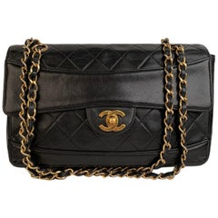 Chanel Vintage Black Quilted Leather Double Chain Shoulder Bag