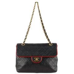 Chanel Vintage Black Quilted Leather Shoulder Bag with Contrast Trim