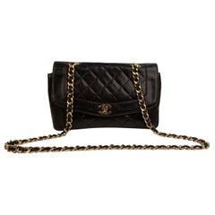 Chanel Vintage Black Quilted Leather Smooth Trim Shoulder Bag