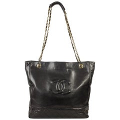 Chanel Vintage Black Quilted Leather Tote Shopping Bag