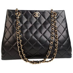 Chanel Vintage Black Quilted Leather Tote Shoulder Bag
