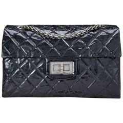 Chanel Vintage Black Quilted Patent Leather Reissue Flap Bag XL Shoulder Bag