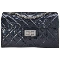 Chanel Vintage Black Quilted Patent Leather Reissue Flap Bag XL Shoulder Bag
