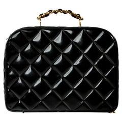 Chanel Vintage Black Quilted Patent Vanity Shoulder Crossbody Quilted Tote Bag