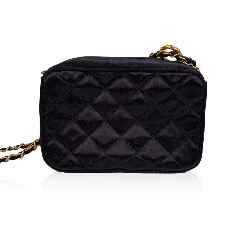 Chanel Vintage Black Quilted Satin Crossbody Camera Bag For Sale 1