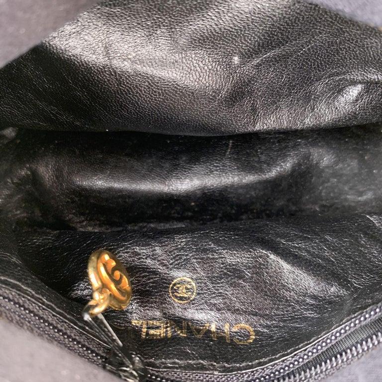 Chanel Vintage Black Quilted Satin Crossbody Camera Bag For Sale 2