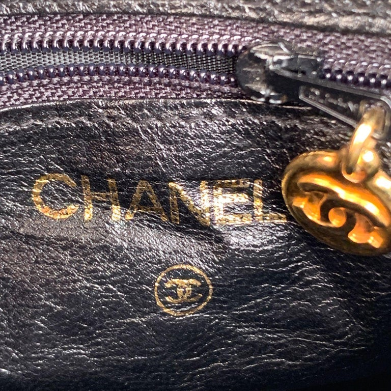 Chanel Vintage Black Quilted Satin Crossbody Camera Bag For Sale 3