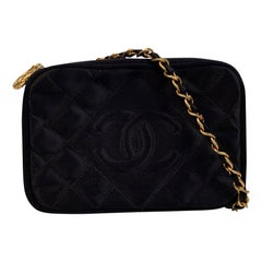 Chanel Vintage Black Quilted Satin Crossbody Camera Bag