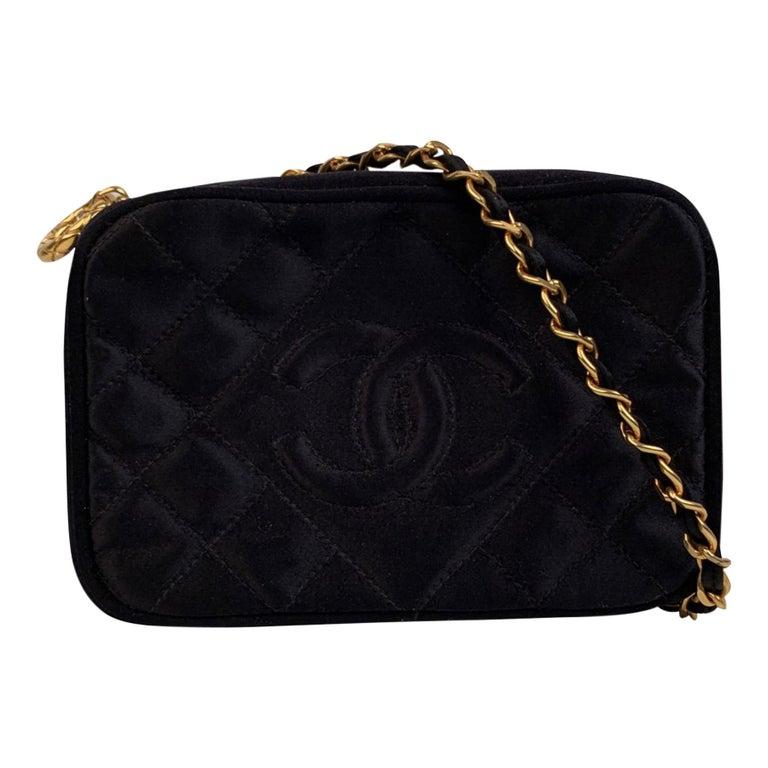 Chanel Vintage Black Quilted Satin Crossbody Camera Bag For Sale