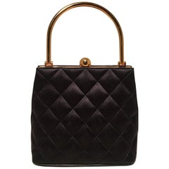 Chanel Vintage Black Quilted Silk Gold Handle Small Evening Frame Bag