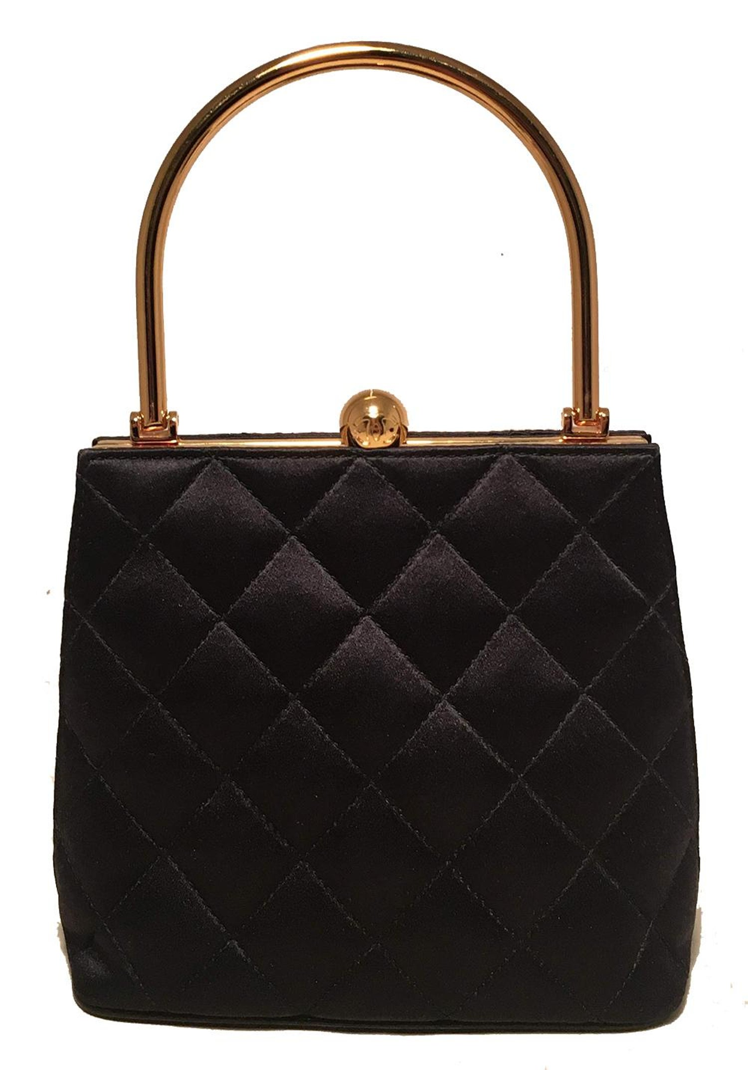 9a4a642895fc63 Chanel Vintage Black Quilted Silk Gold Handle Small Evening Frame Bag For  Sale at 1stdibs