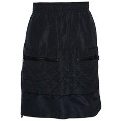 Chanel Vintage Black Quilted Silk Velcro Detail Skirt S