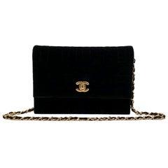Chanel Vintage Black Quilted Velvet Evening Shoulder Bag
