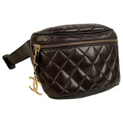 Chanel Vintage Black Quilted Waist Bum Bag Pouch