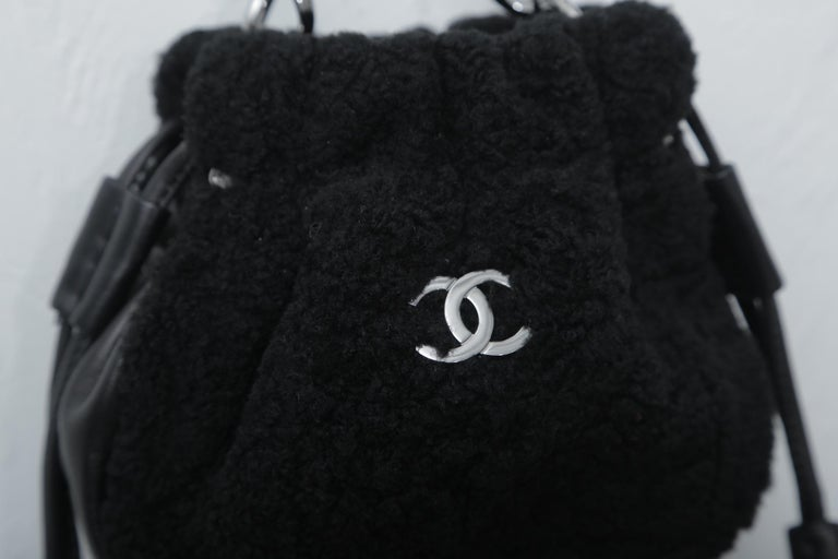 Chanel Vintage Black Shearling Drawstring Pochette with Silver Hardware  In Excellent Condition For Sale In West palm beach, FL