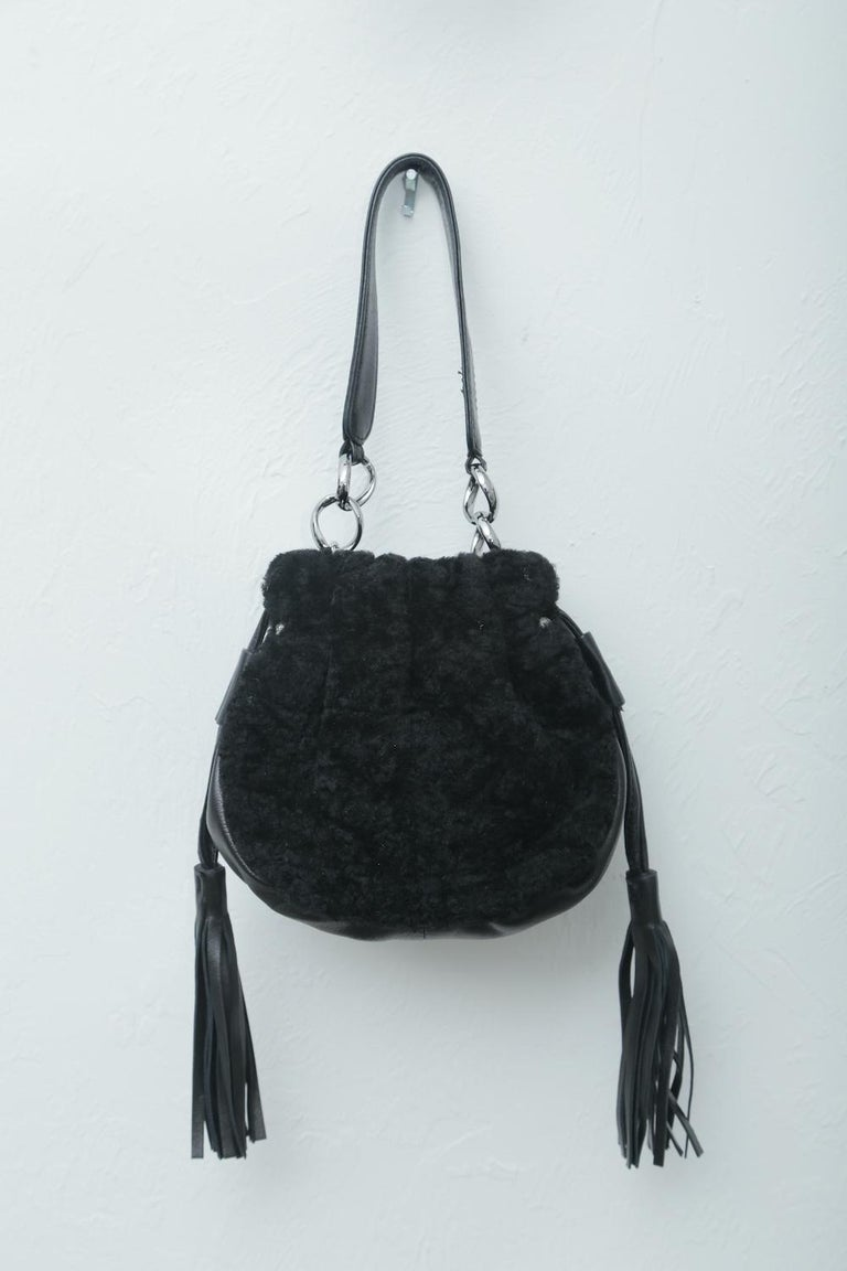 Women's Chanel Vintage Black Shearling Drawstring Pochette with Silver Hardware  For Sale