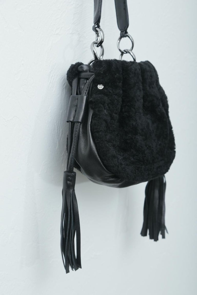 Chanel Vintage Black Shearling Drawstring Pochette with Silver Hardware  For Sale 1