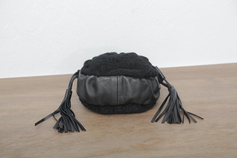 Chanel Vintage Black Shearling Drawstring Pochette with Silver Hardware  For Sale 4