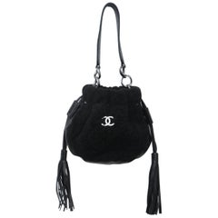 Chanel Vintage Black Shearling Drawstring Pochette with Silver Hardware
