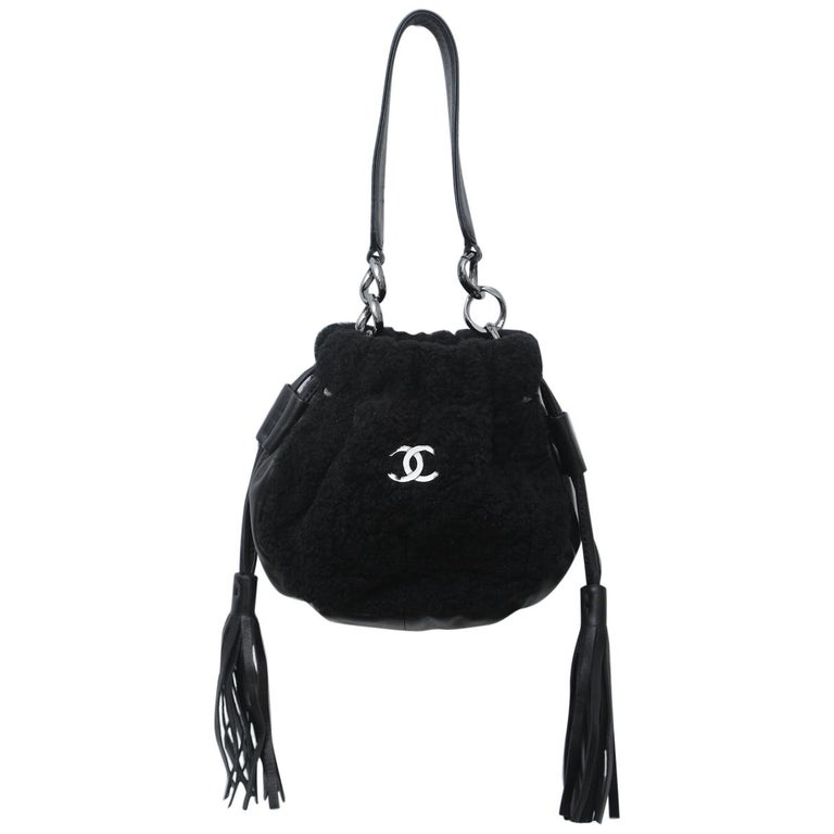 Chanel Vintage Black Shearling Drawstring Pochette with Silver Hardware  For Sale