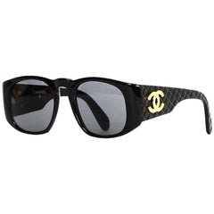 Chanel Vintage Black Sunglasses w/ Quilted CC Arms